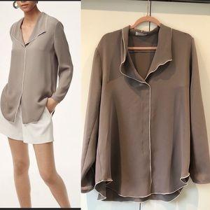 Aritzia Babaton Rena satin crepe blouse sz L